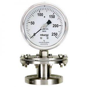 (Tiếng Việt) Đồng hồ áp suất thấp dạng màng nối bích mặt 100mm - GB Pháp